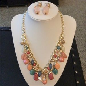 Érica Lyons. Colorful Beads/ Chain Necklace. NEW.